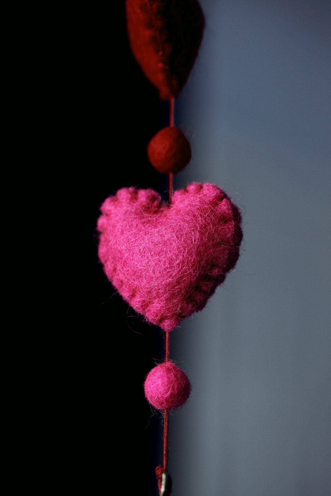 Part of a lovely wool felt string of hearts.