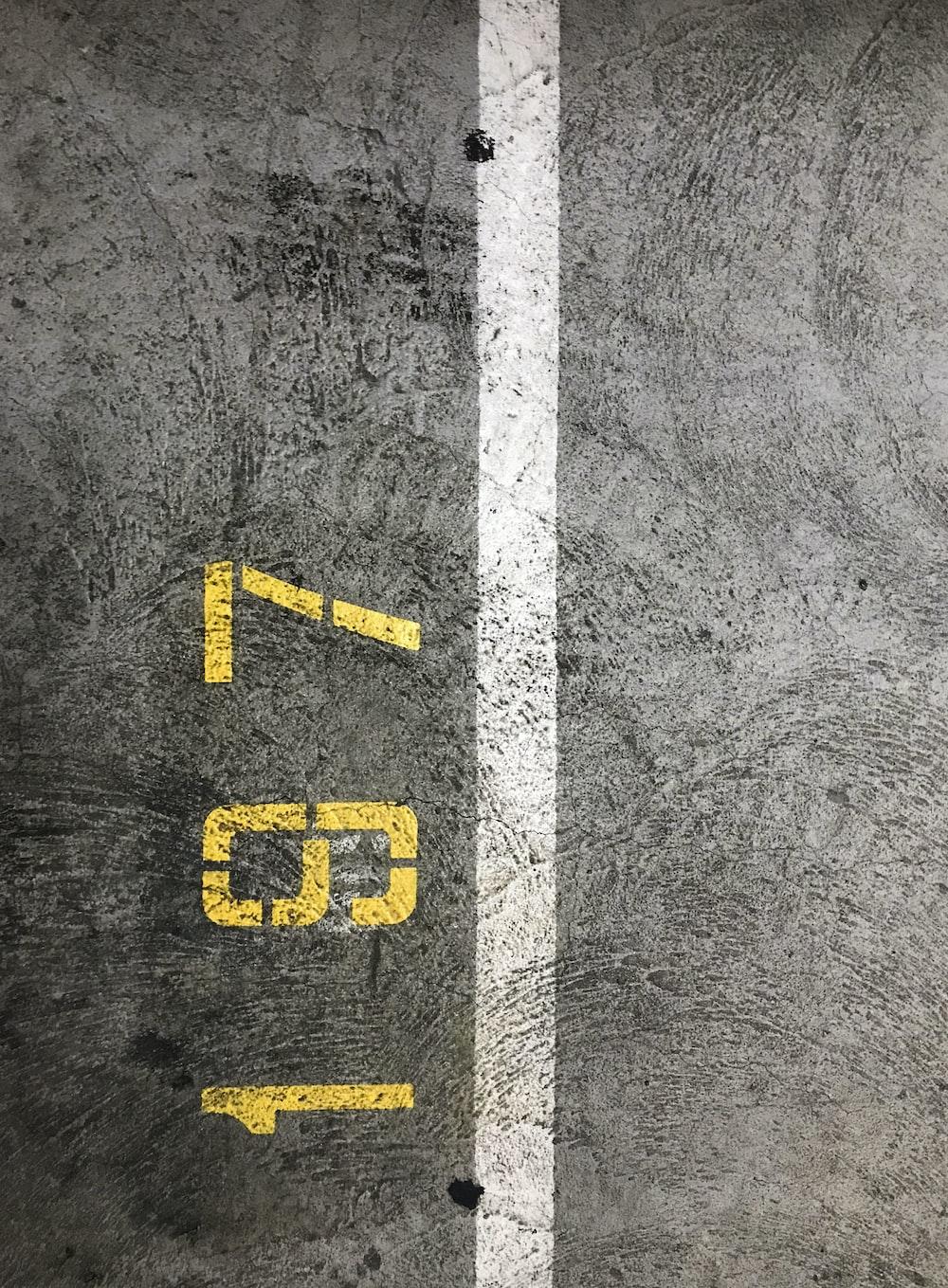 gray concrete floor with 197 print