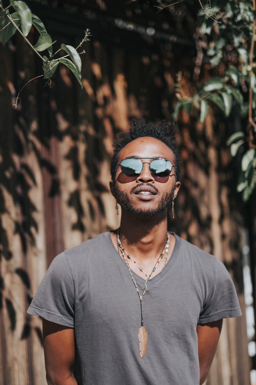 man wearing Aviator-style sunglasses