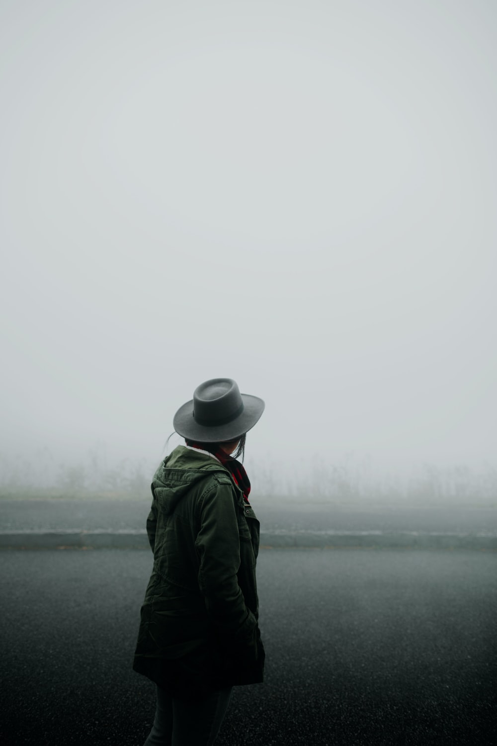 person standing overlooking forest covered in fog
