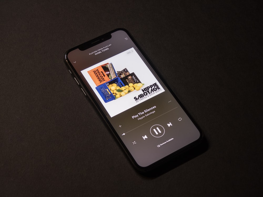 space gray iPhone X showing Spotify application