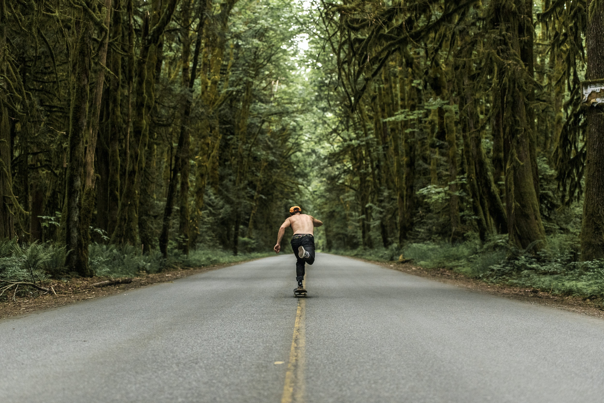 man riding skateboard on concrete road beside trees