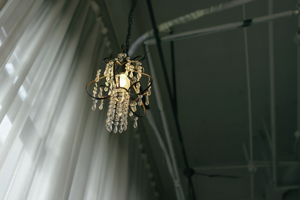 powered on chandelier