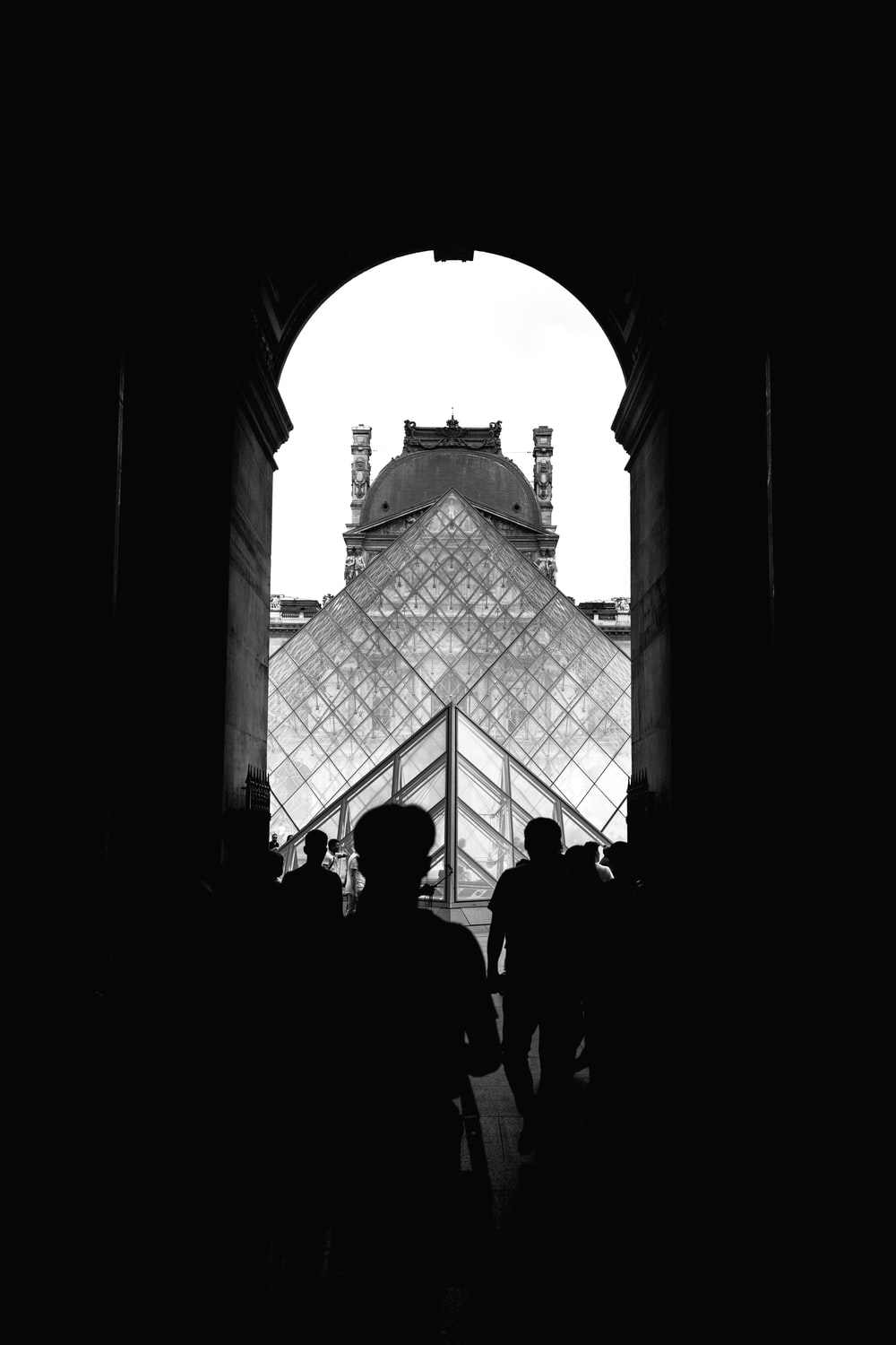 grayscale photography of Louvre Museum, Paris