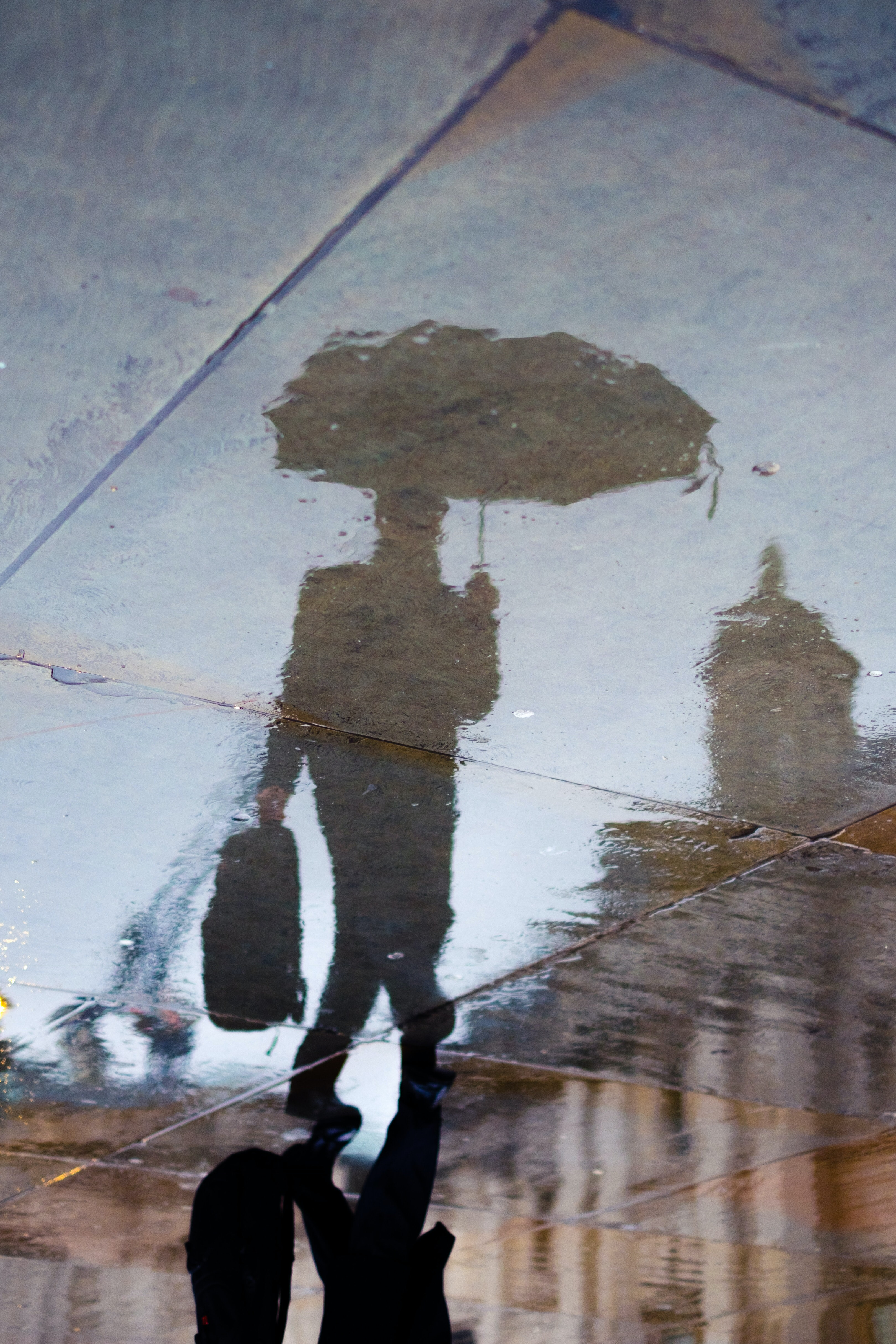 reflection of person holding bag and umbrella