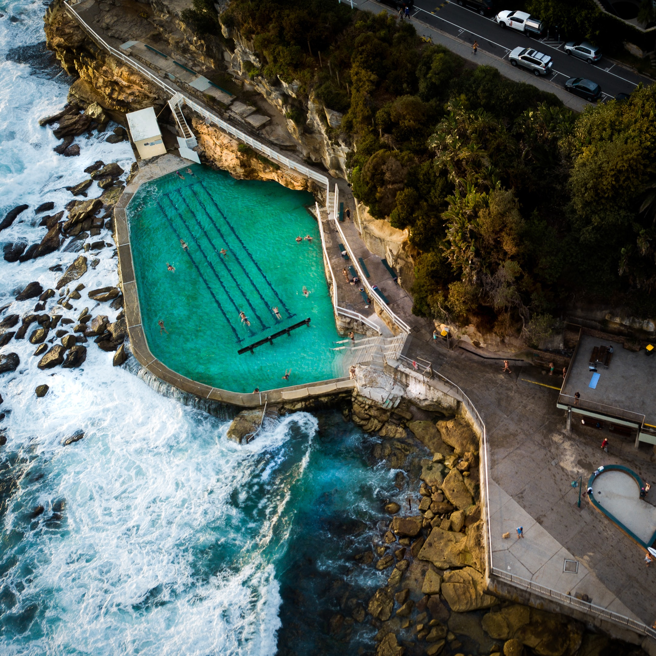 aerial photo of swimming pool