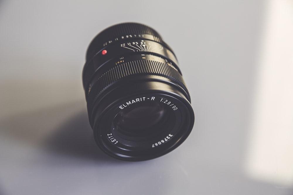 black camera DSLR lens