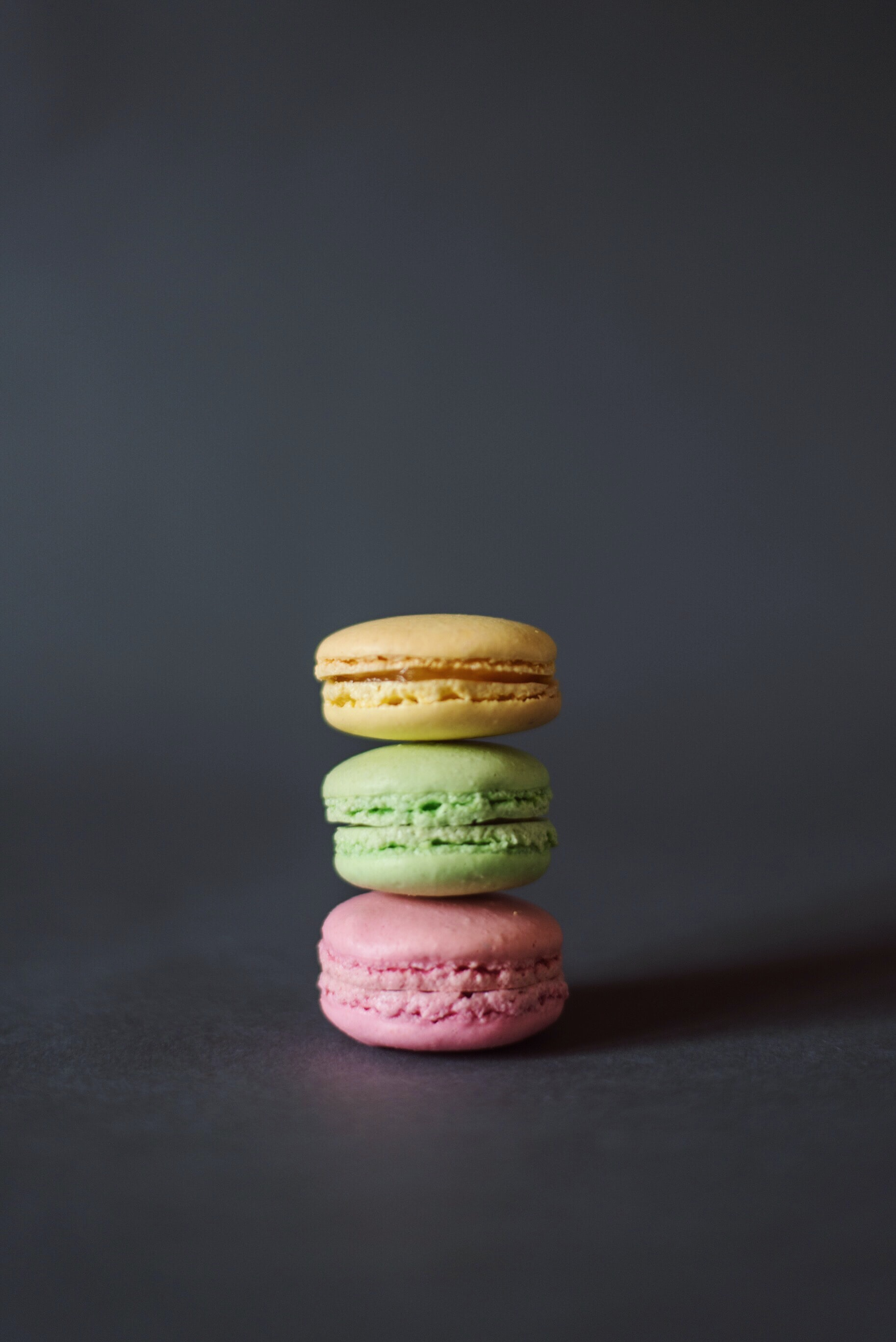 three pile of macarons