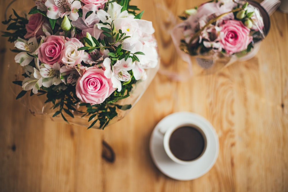 closeup photography pink and white petaled flowers bouquet
