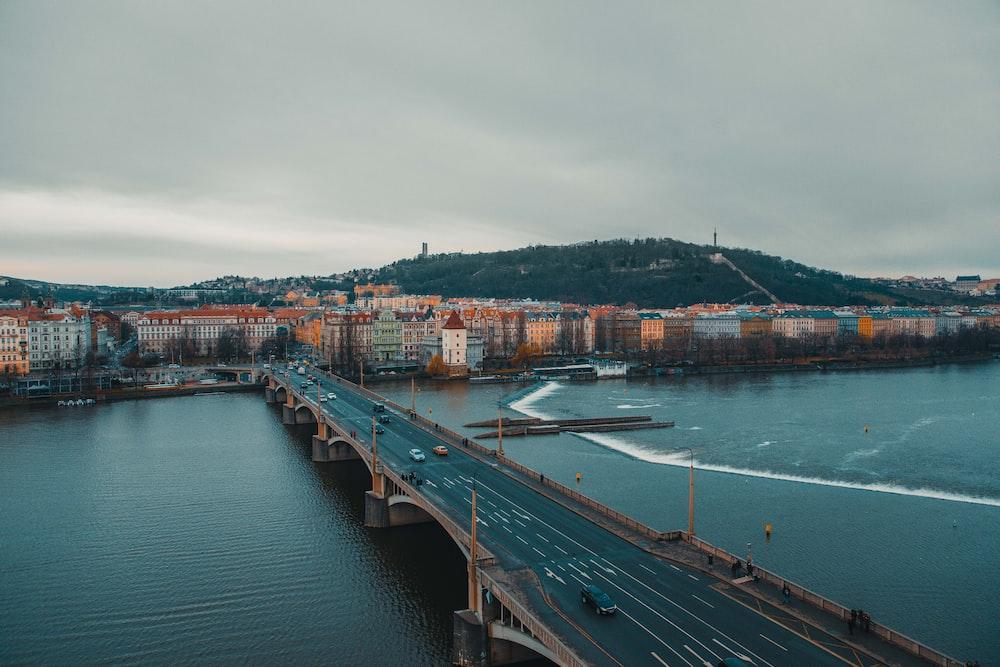 aerial view of bridge near cityscape