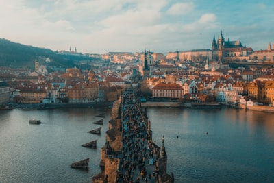 people walking on bridge prague teams background