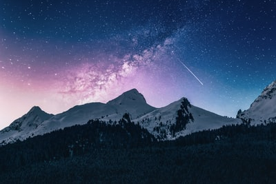 snow mountain under stars star zoom background