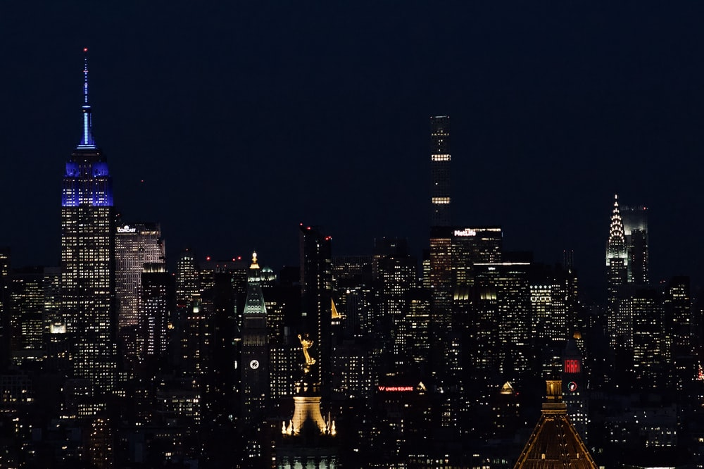 aerial photo of city during nighttime