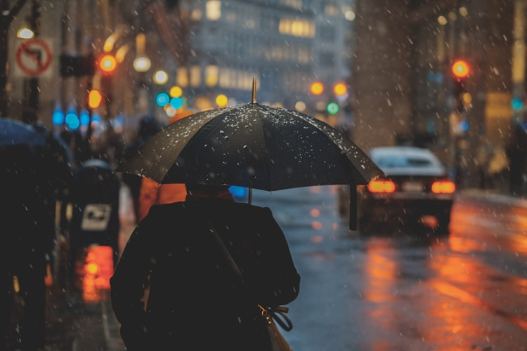 A photo of a city street at night, it's raining and we see a person from behind carrying a large umbrella.