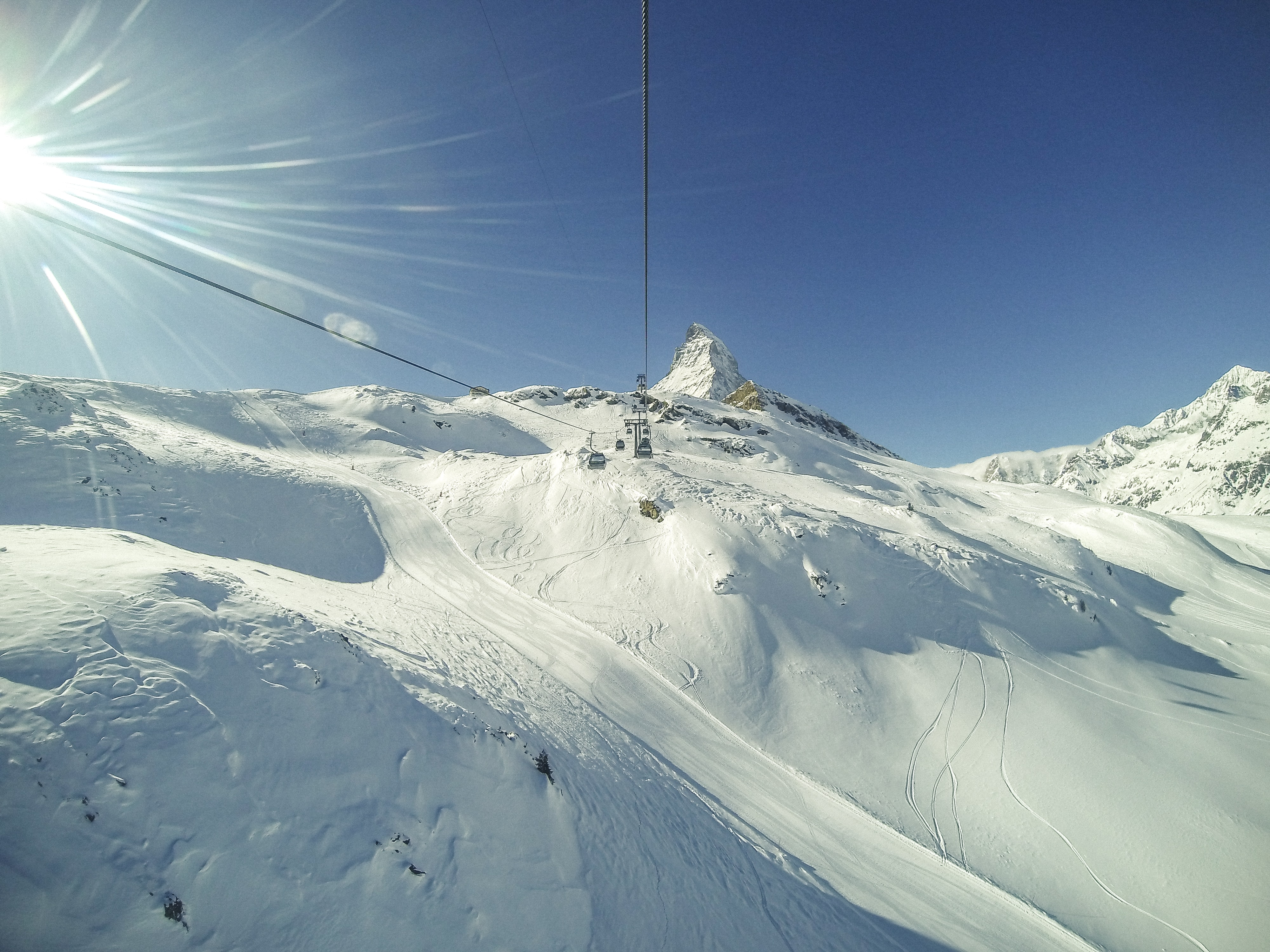 white snowy mountain under blue sky