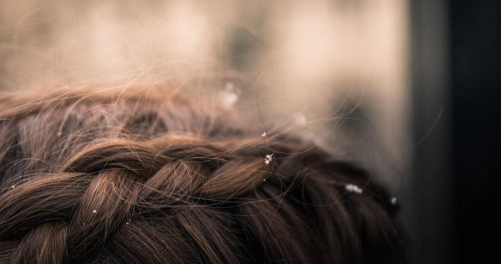 brown braided hair