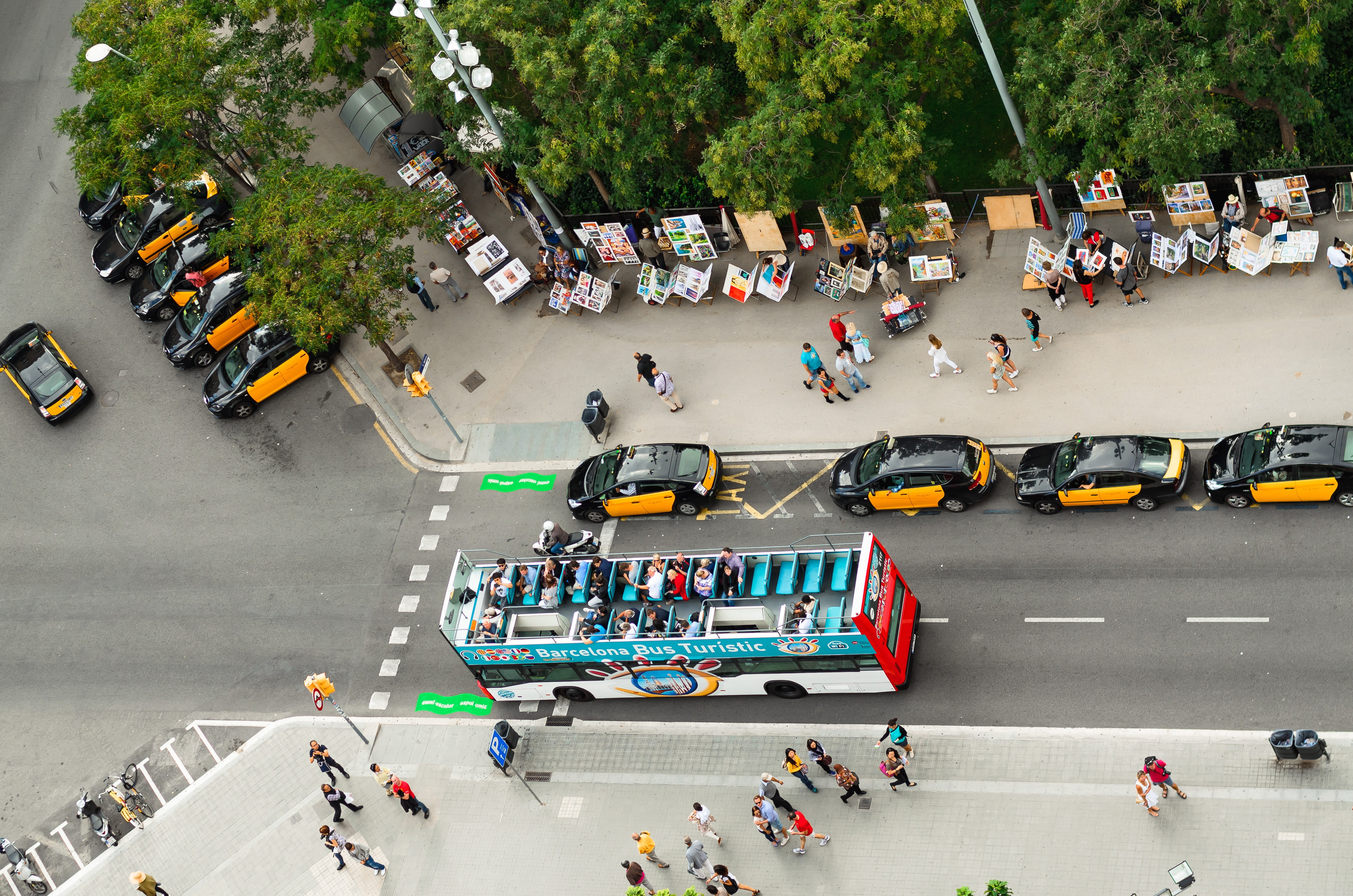 aerial photography of bus on road