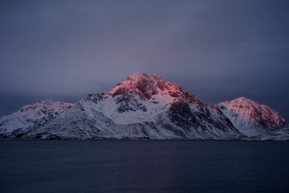 glacier mountains near sea