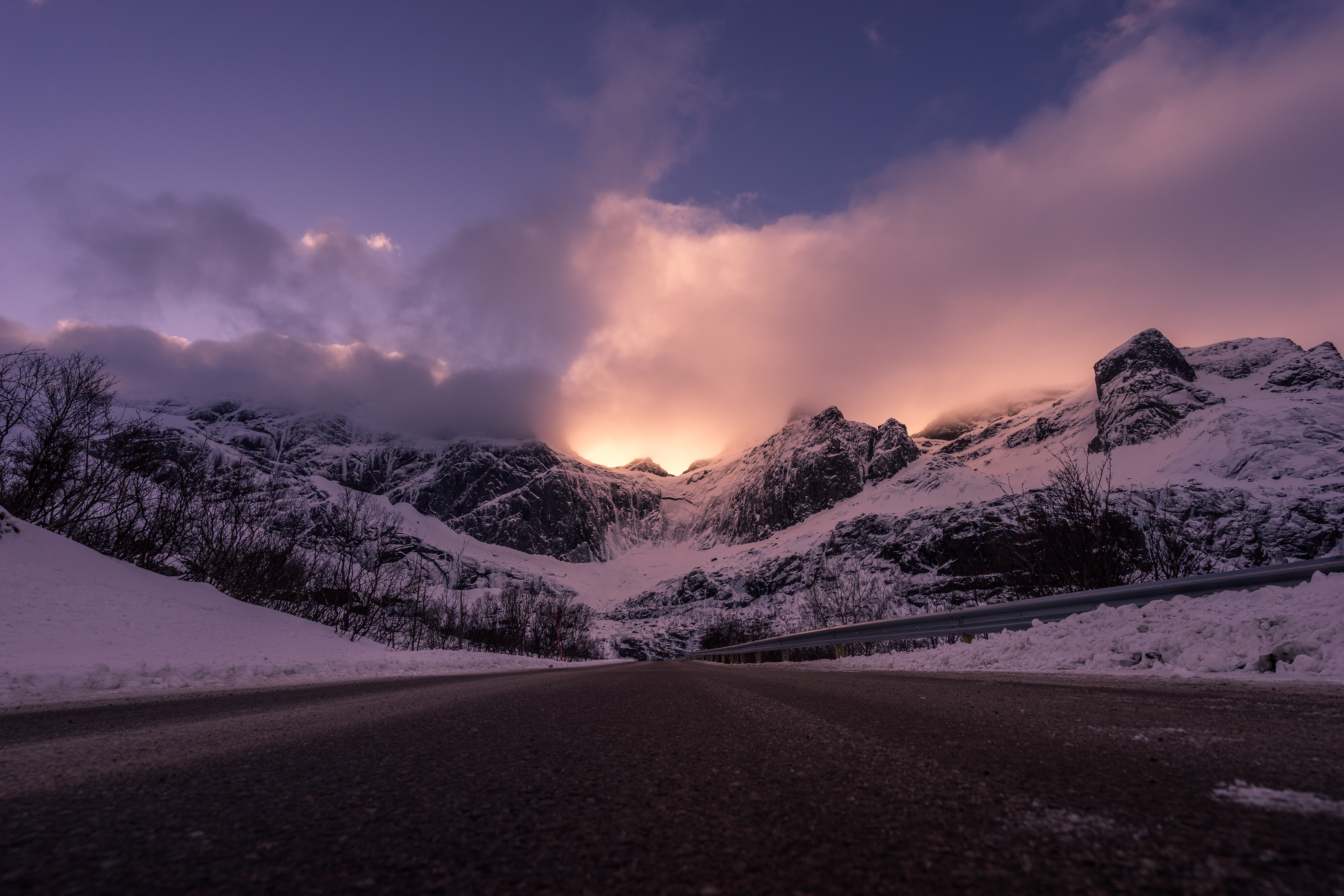 photo of snow mountains during sunset