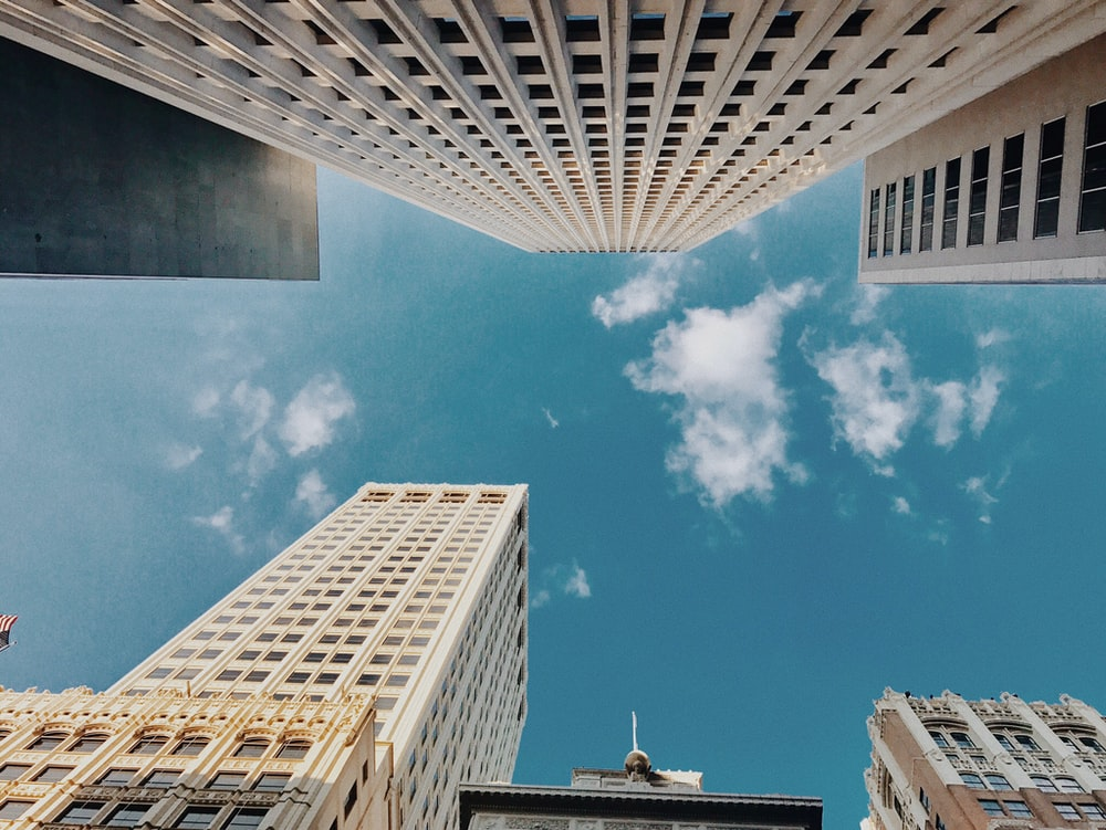 fisheye lens photography of white buildings