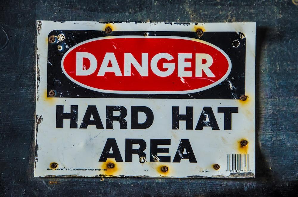 Danger Hard Hat Area signage
