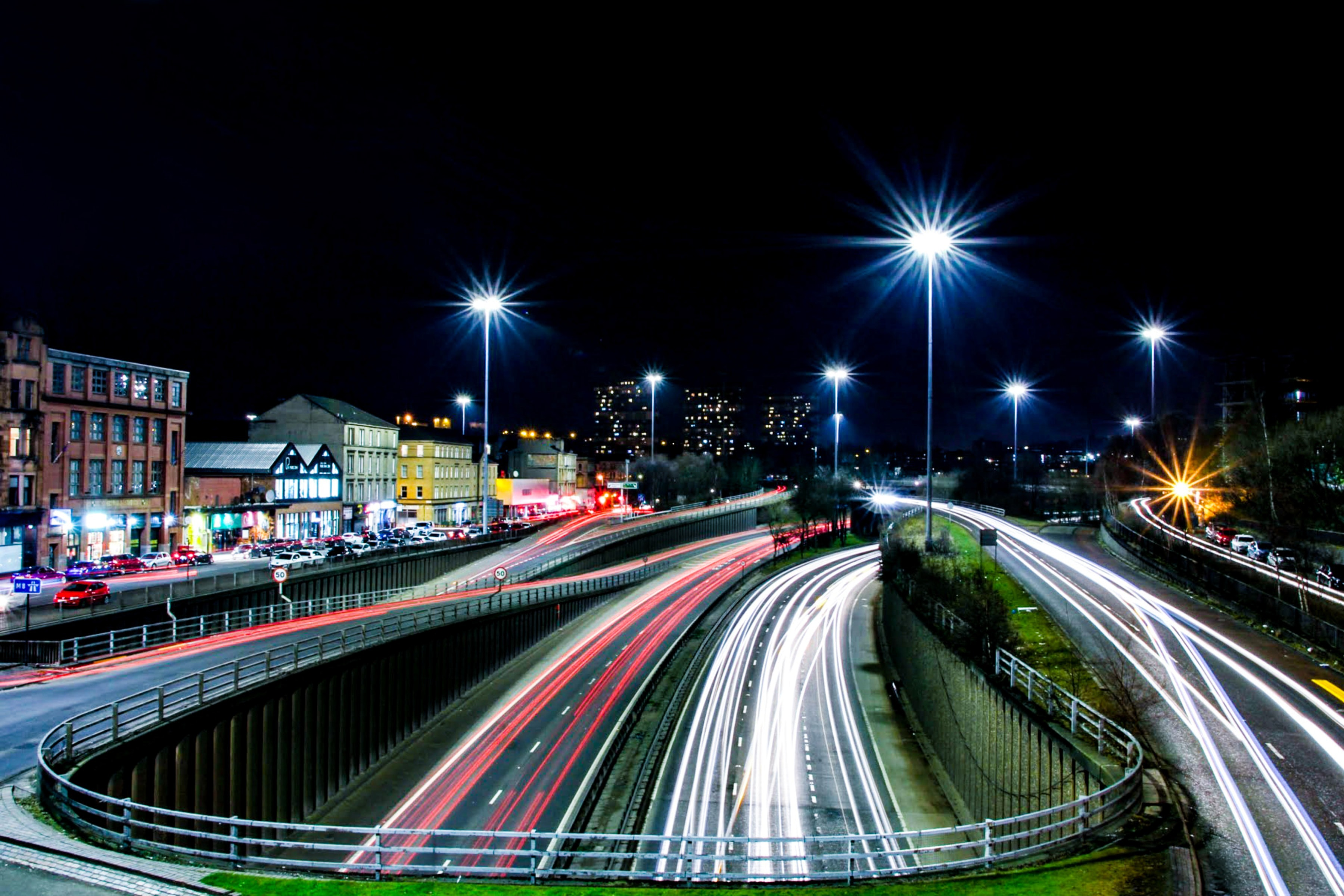 road and city time-lapse photography