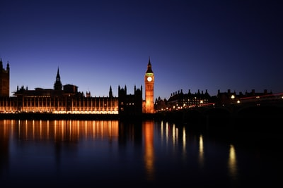 big ben's clock at night united kingdom teams background