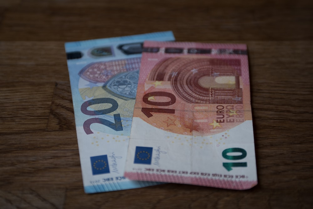 two 10 and 20 Euro banknotes