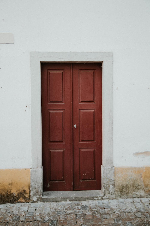 brown wooden 6-panel door close