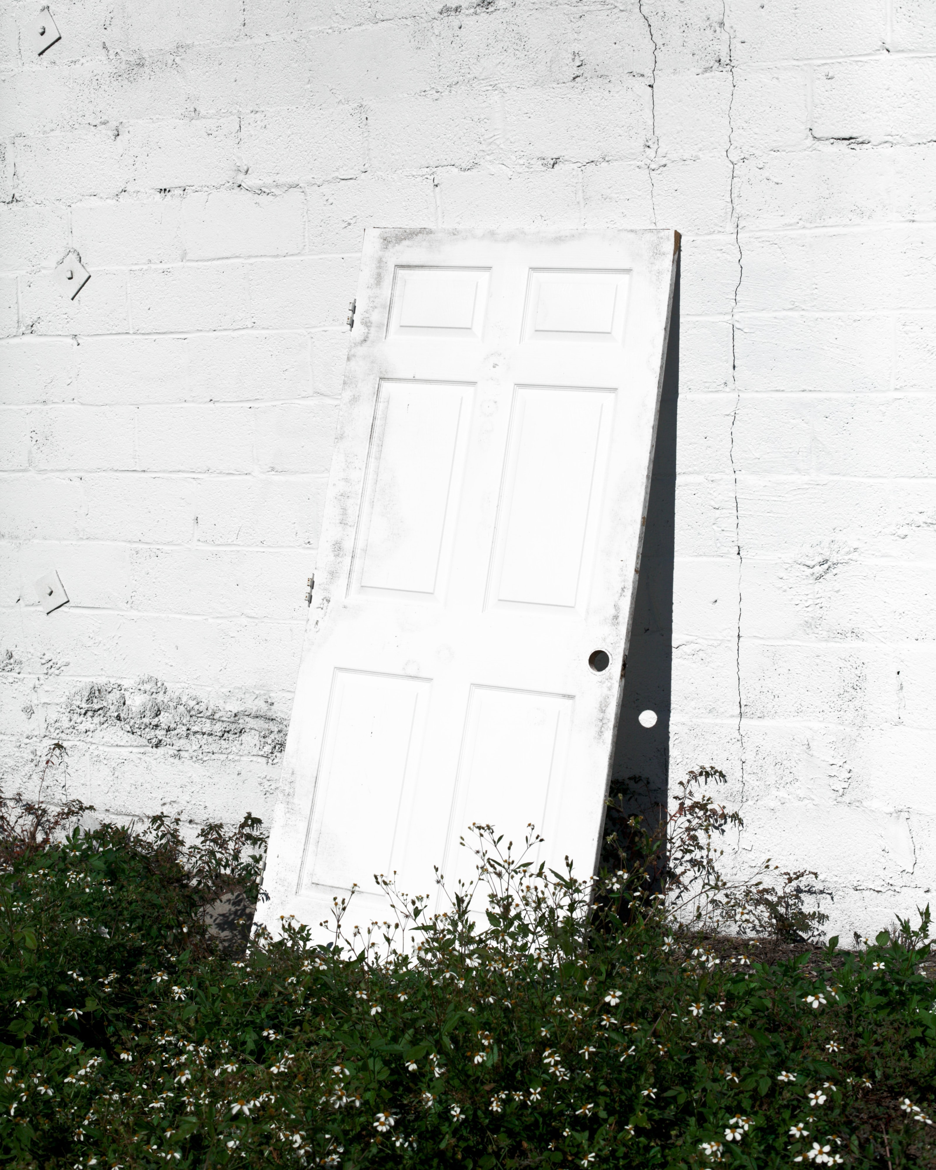 white wooden door hanged on white wall