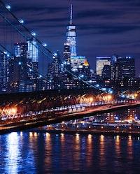 aerial photo of bridge during nighttime