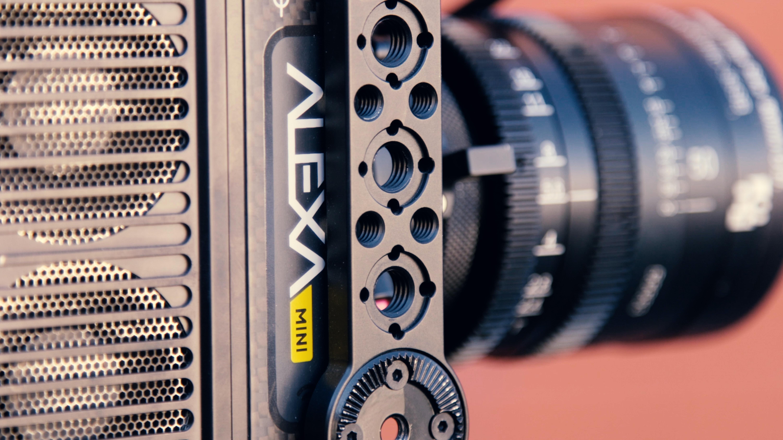 black Alexa mini camera in macro shot