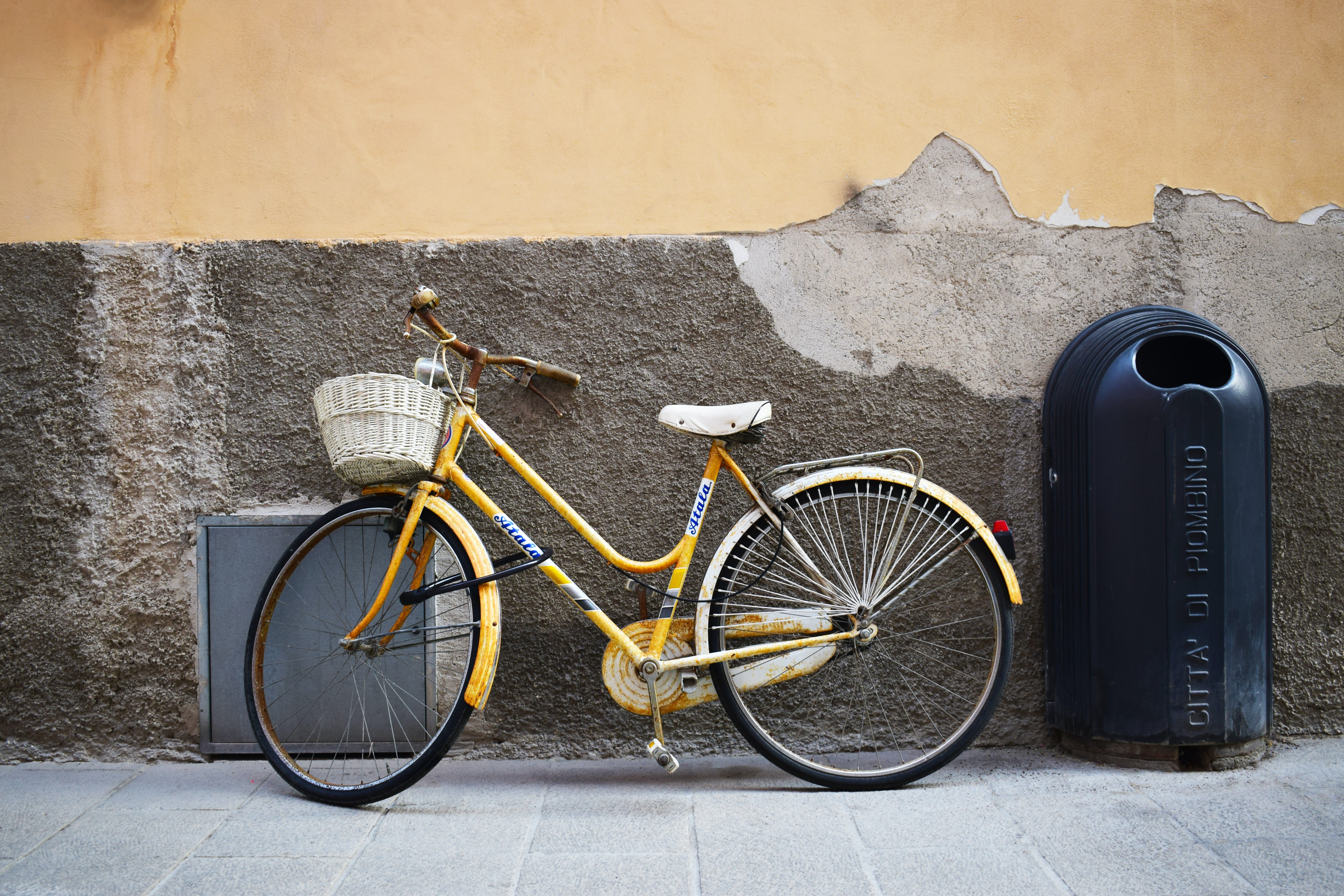 bicycle leaning on wall near trash bin