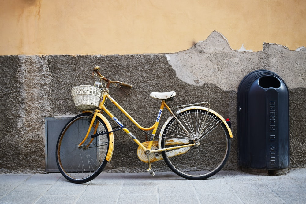 bicycle leaning on wall near trash bin