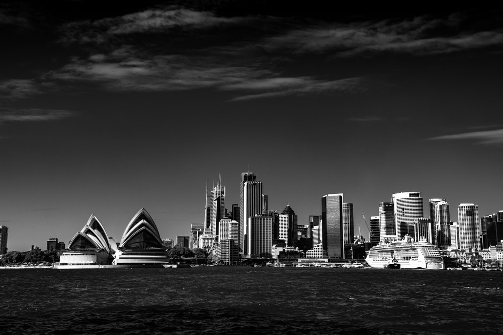 grayscale photo of Opera House , Sydney Australia