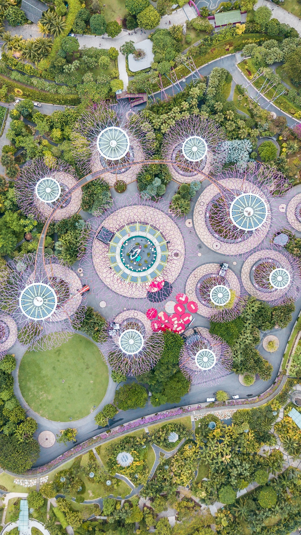 aerial photography of themed park