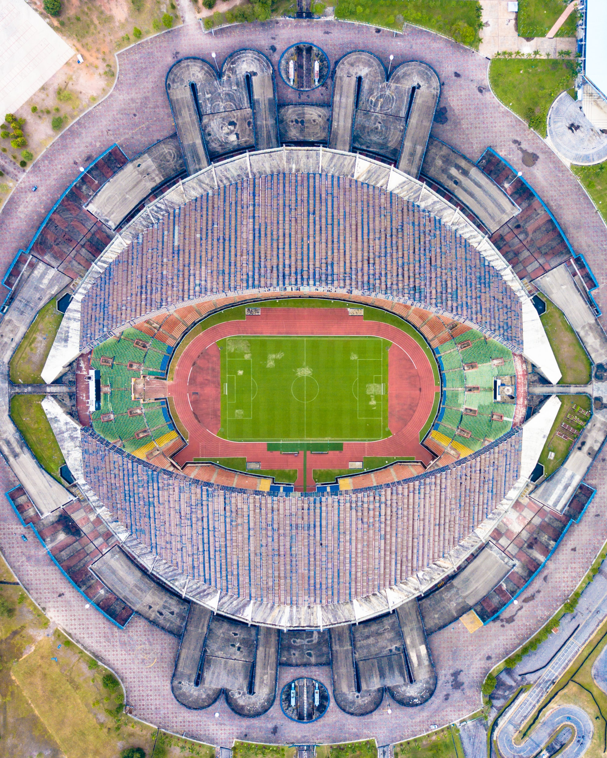 birds eye view of soccer stadium