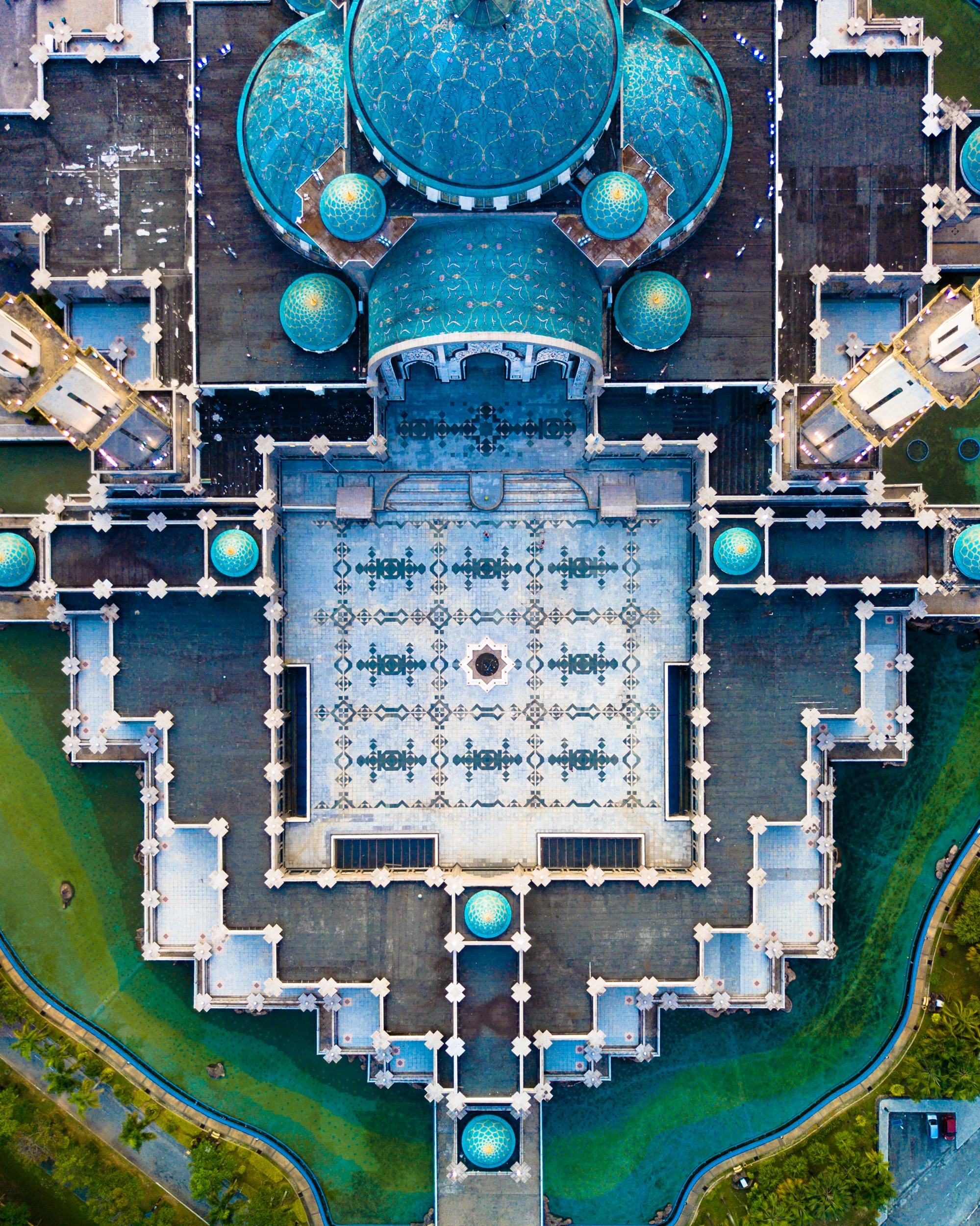 aerial photography of gray and blue palace