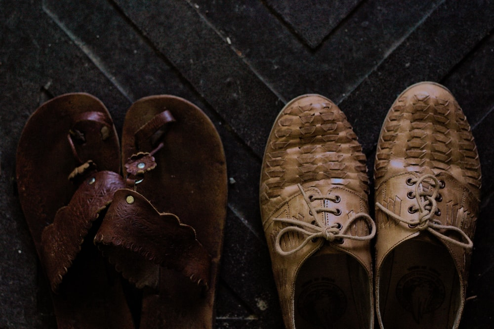 pair of brown sandals