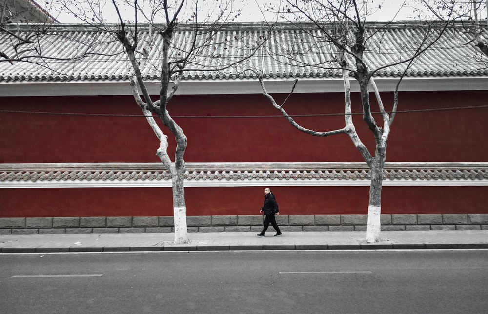 man walking on pathway near wall