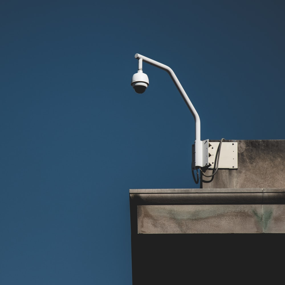 CCTV camera hanged on top of the building