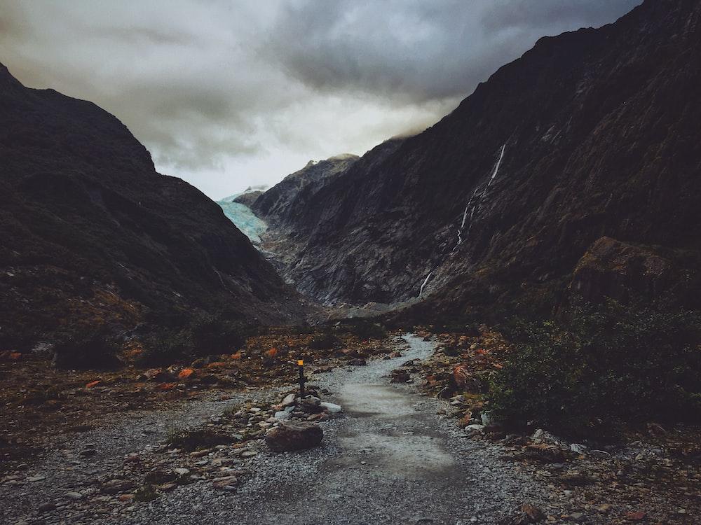 pathway in between rock formations