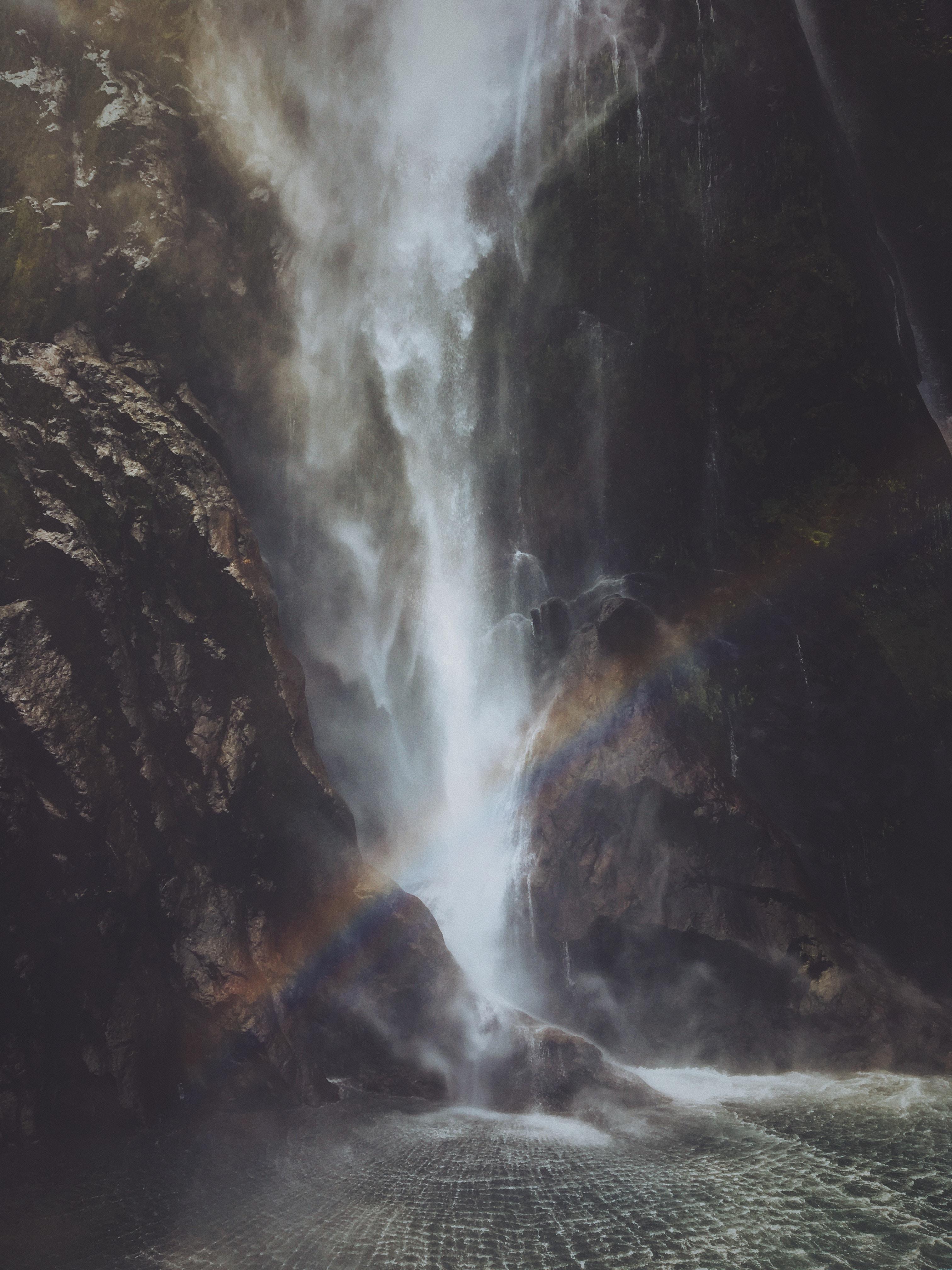 rainbow near the waterfalls
