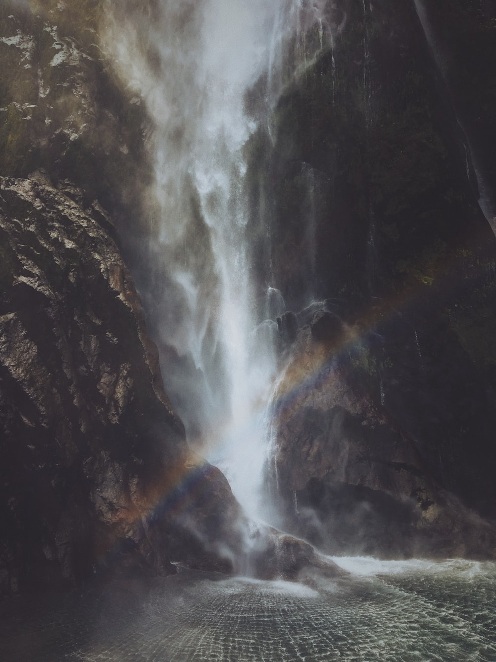 rainbow near the waterfalls