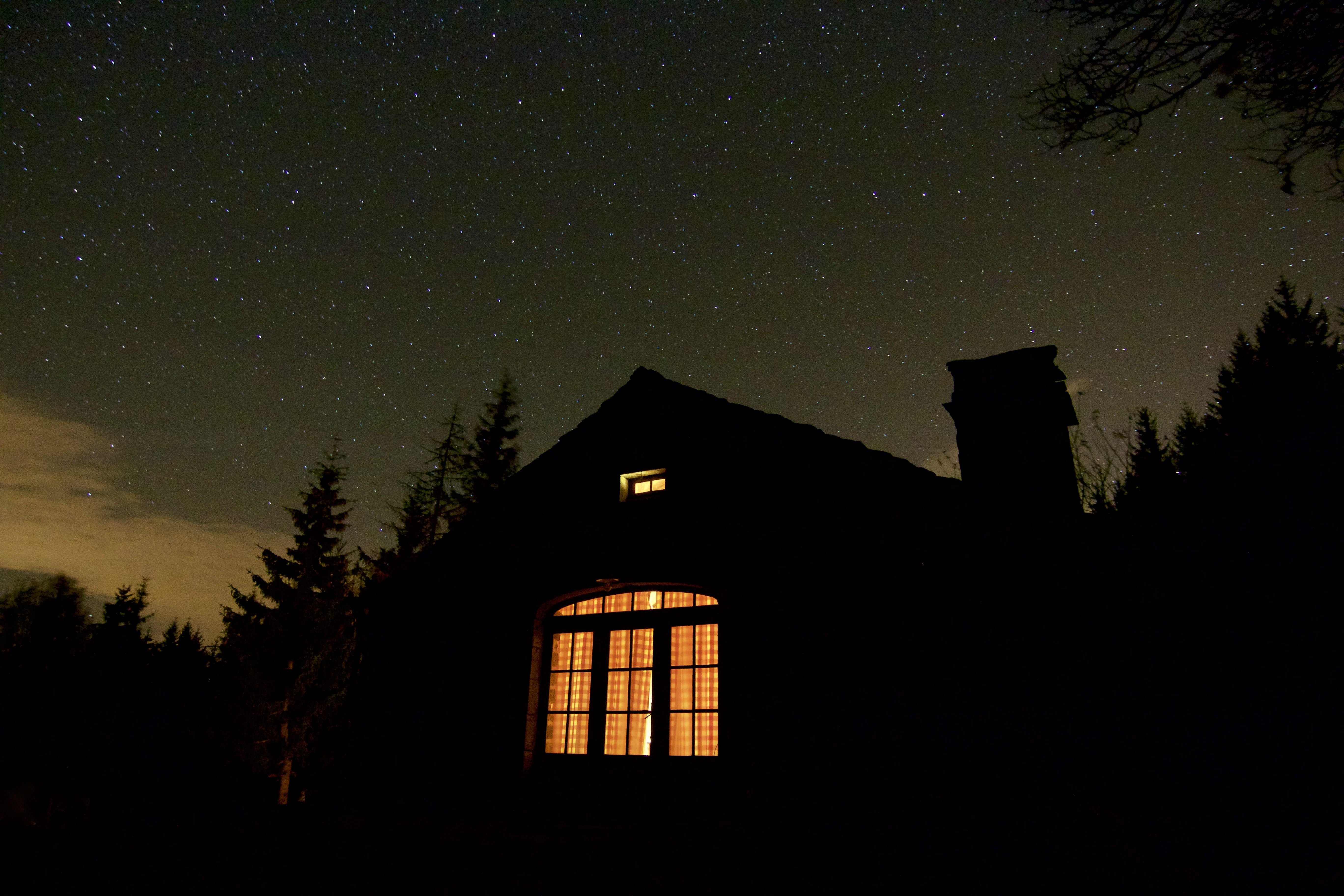 silhouette photo of house