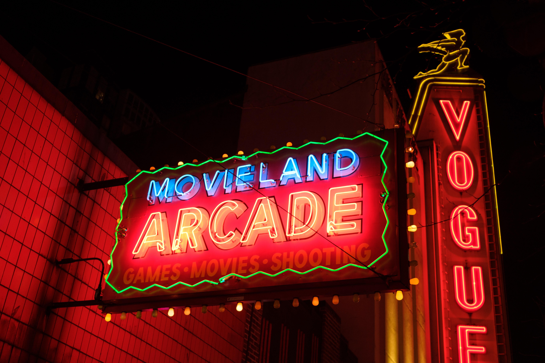 Movieland Arcade neon light signage at night