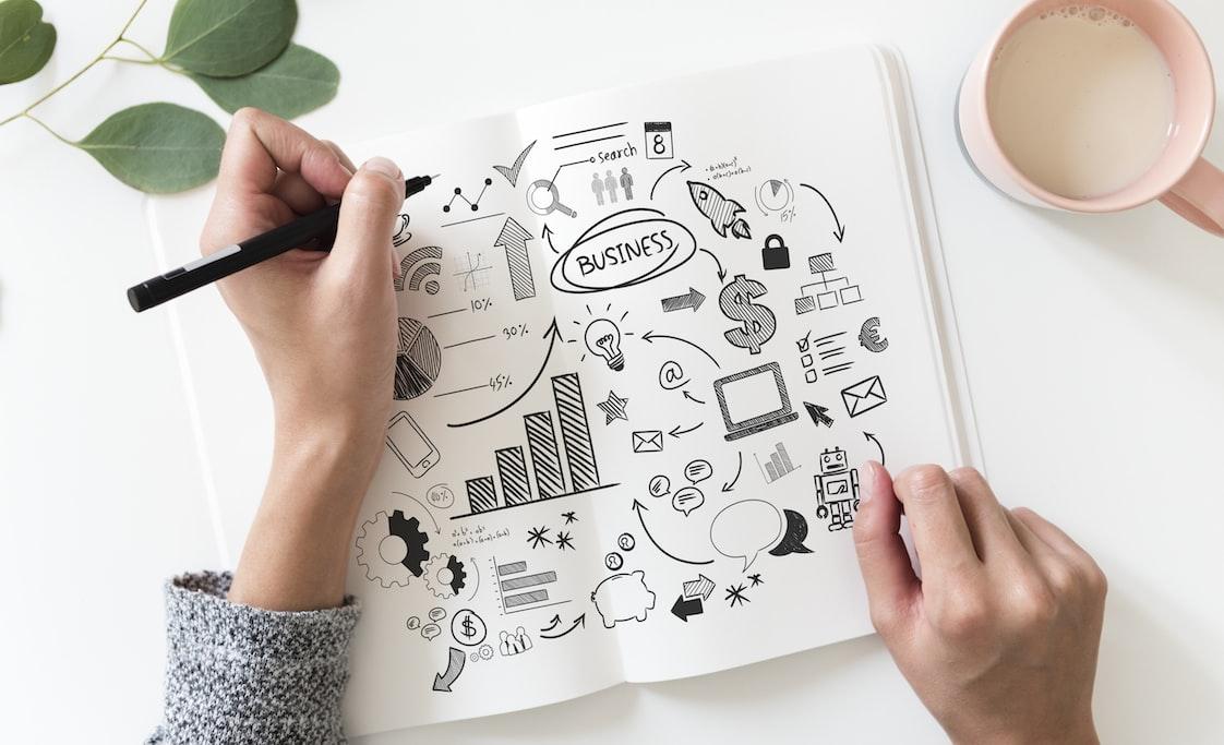 A imagem mostra um planner com ilustrações de estratégia de empresa.