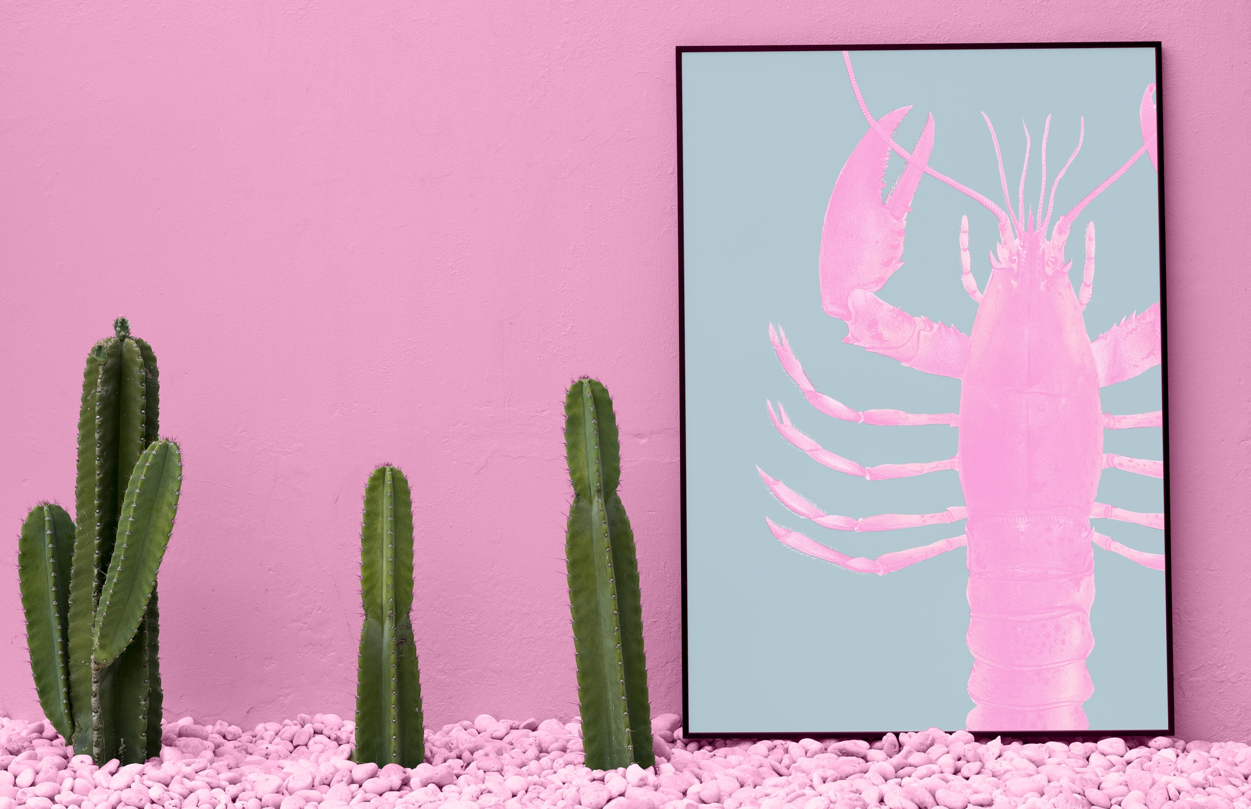 pink shrimp painting with black wooden frame