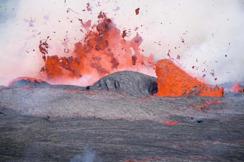 lava splashing on rocks