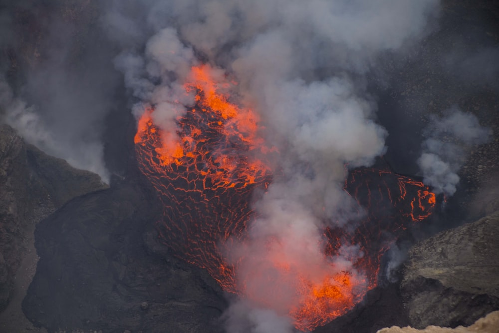 lava on volcano during daytime